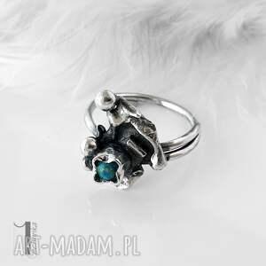 niepowtarzalne pierścionki turkus turkusowy skrzat srebrny