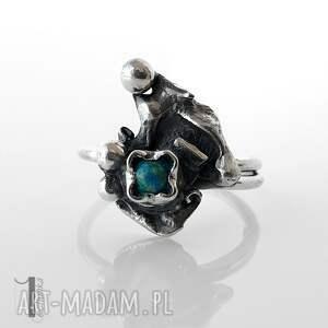 niepowtarzalne pierścionki pierścionek turkusowy skrzat srebrny