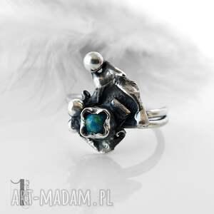 pierścionki srebrny turkusowy skrzat