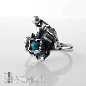 szare pierścionki pierścionek turkusowy skrzat srebrny