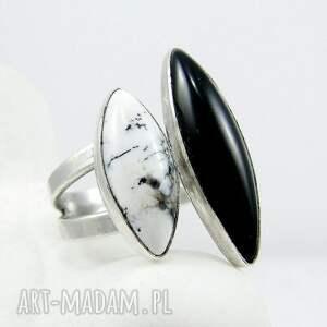 Amade Studio Twins ring onyx & dendritic agate - elegancki onyks