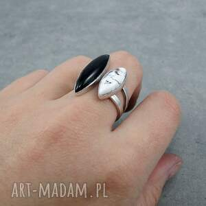 oryginalny twins ring onyx & dendritic agate