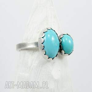 frapujące oryginalny twins ring - double turquoise