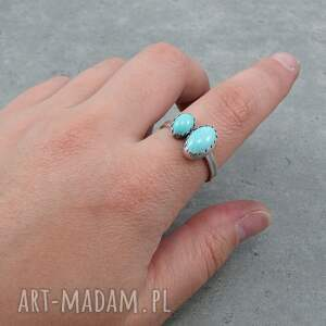Twins ring - double turquoise - pastelowy owal