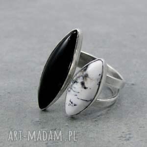 białe podwójny twins ring onyx & dendritic agate