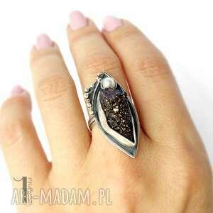 pierścionek pierścionki velen srebrny pierścień z druzą