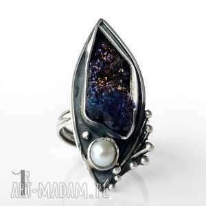 druza pierścionki fioletowe velen srebrny pierścień z druzą