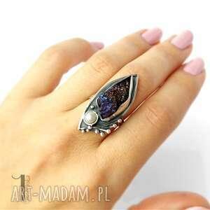 pierścionki pierścionek velen srebrny pierścień z druzą