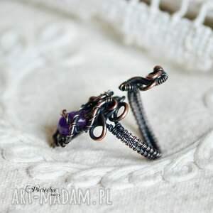 pierścionek pierścionki fioletowe violet - z ametystem