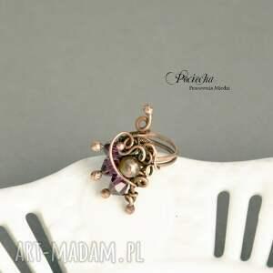 hand made pierścionki pierścionek violet - ze szklanymi
