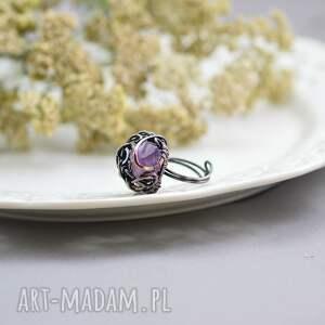 kryształ-ametystu pierścionki violet - pierścionek z ametystem