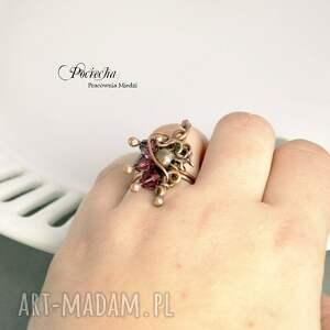 fioletowe pierścionki pierścionek violet - ze szklanymi