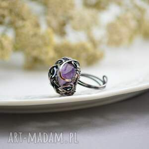 brązowe pierścionki pierścionek-duży violet - pierścionek z ametystem