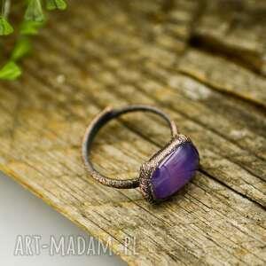 hippie biżuteria piękny, surowy pierścionek stworzony