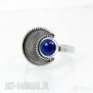 niebieskie pierścionki regulowany w ramionach księżyca - lapis lazuli