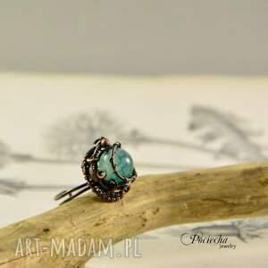 turkusowe pierścionki pierścionek waruna - z agatem
