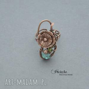 brązowe pierścionki miedź water lilly - pierścionek z kwiatem