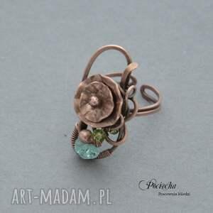 pierscionek pierścionki turkusowe water lilly - pierścionek z kwiatem