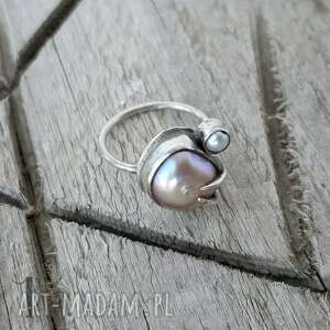 handmade pierścionki słodkowodna-perła wild pearl - double pink srebrny
