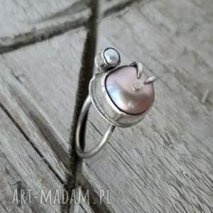 białe pierścionki pierścionek-srebrny wild pearl - double pink srebrny