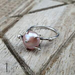 pierścionek-srebrny pierścionki różowe wild pearl - atomic pink ii srebrny