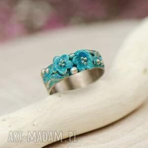 srebrne pierścionek emalia wykonany na indywidualne