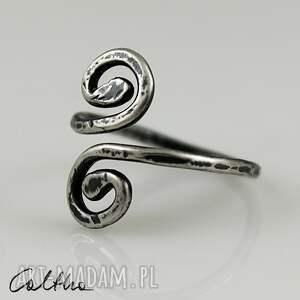 szare pierścionki pierścień *zawijasy i - srebrny