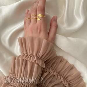 pierścionki obrączka zestaw trzech obrączek z różowego