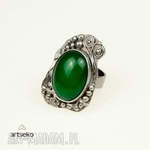 agat pierścionki zielona bryza - pierścionek srebrny