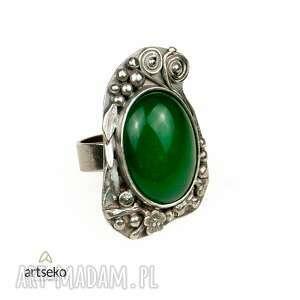 pierścionki agat zielona bryza - pierścionek srebrny