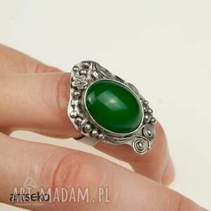 pierścionki pierścionek zielona bryza - srebrny