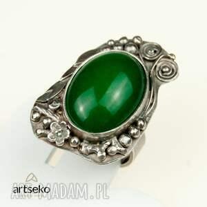 zielone pierścionki pierścionek zielona bryza - srebrny