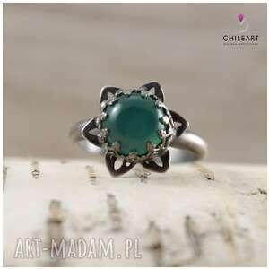 urokliwe zielony agat i srebro - pierścionek
