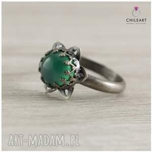 zielony pierścionek agat i srebro
