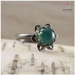 zielone agat zielony i srebro - pierścionek