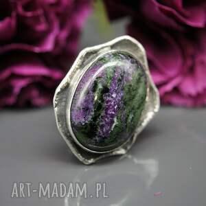 różowe srebrny zoisyt i rubin - pierścionek earth