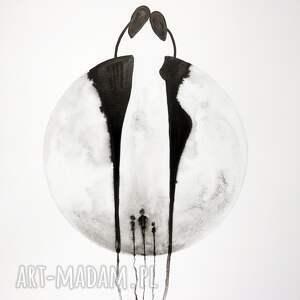 obrazy ręcznie malowane plakaty białe grafika 50x70 cm wykonana
