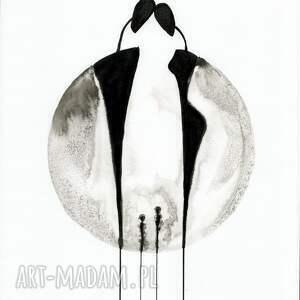 szare plakaty grafiki do salonu malowany ręcznie tuszem na naturalnie białym