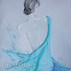obrazy ręcznie malow plakaty turkusowe subtelny i zmysłowy akt kobiecy, rysunek