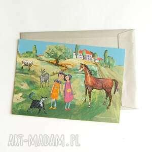 kolorowy obrazek z dziećmi, plakat do dziecięcego pokoju, ilustracja dla dziewczynka