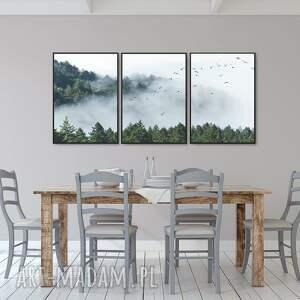 ręcznie robione plakaty las las we mgle