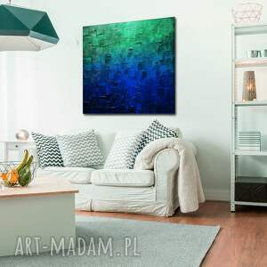 ciekawe plakaty obrazy do salonu turkusowy obraz abstrakcyjny