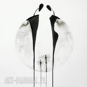 obrazy ręcznie malowane plakaty białe zestaw 3 grafik 50x70