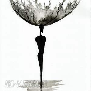 zestaw 2 grafik 30X40 cm wykonanych ręcznie, abstrakcja, elegancki minimalizm obraz kobieta