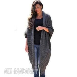 szare płaszcze swetry asymetryczny długi sweter płaszcz