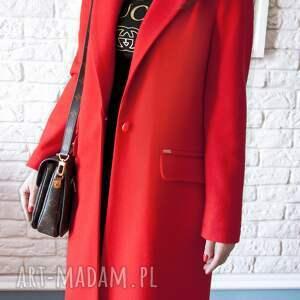 płaszcze midi bien fashion czerwony wiosenny