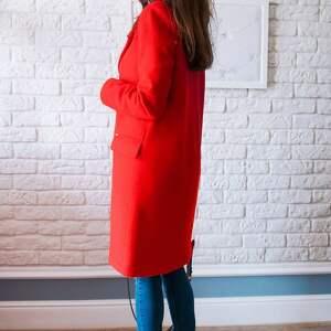 czerwone płaszcze midi bien fashion czerwony wiosenny