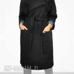 niepowtarzalne płaszcze casual długi czwrny płaszcz damski