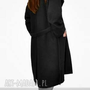 płaszcze dresowy długi czwrny płaszcz damski