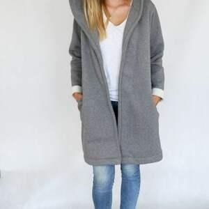 gustowne płaszcze bawełna l - xl płaszcz z kapturem szary